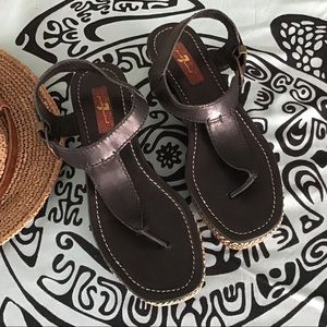 7 For All Mankind Black Wedge T-Strap Sandals
